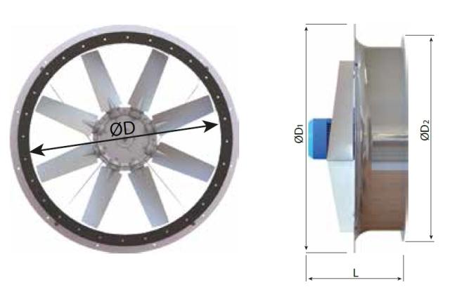 Габаритные размеры реверсивных вентиляторов для сушильных камер ADW