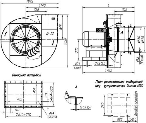Габаритные и присоединительные размеры тягодутьевой машины Д-12 (1 исполнение)