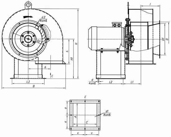 Габаритные и присоединительные размеры машин ВД-2,5 – ВД-3,5 и Д-3,5.