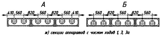 Секции аппаратов с числом ходов 1, 3, 3а