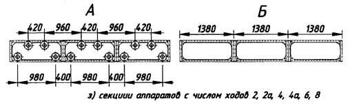 Секции аппаратов с числом ходов 2, 2а, 4, 4а, 6, 8