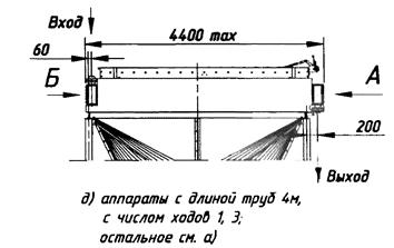 Аппараты с длиной труб 4 м, с числом ходов 1, 3.