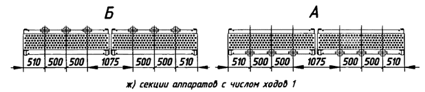Секции аппаратов с числом ходов 1.