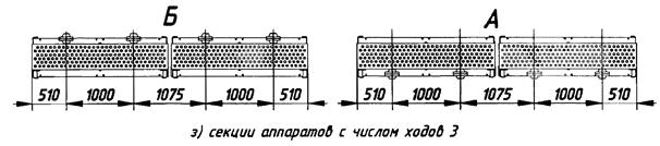 Секции аппаратов с числом ходов 3.