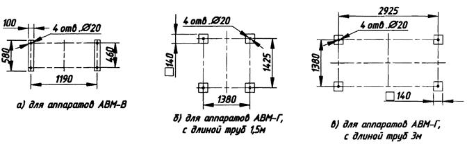 Для аппаратов АВМ-В. Для аппаратов АВМ-Г, с длиной труб 1,5 м. Для аппаратов АВМ-Г, с длиной труб 3 м.