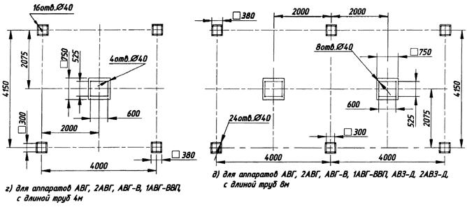 Для аппаратов АВГ, 2АВГ, АВГ-В, 1АВГ-ВВП, с длиной труб 4 м. Для аппаратов АВГ, 2АВГ, АВГ-В, 1АВГ-ВВП, АВЗ-Д, 2АВЗ-Д, с длиной труб 8 м.