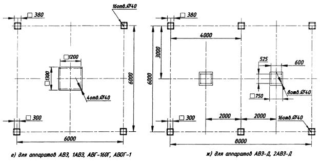Для аппаратов АВЗ, 1АВЗ, АВГ-160Г, АВОГ-1. Для аппаратов АВЗ-Д, 2АВЗ-Д.