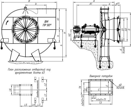Габаритные и присоединительные размеры вентиляторов ВМ