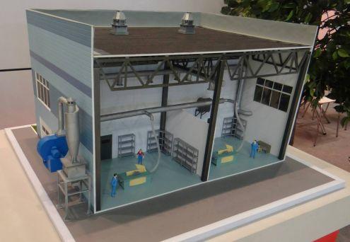 ЕВРОМАШ. Макет аспирационной системы с пылеулавливающим агрегатом ЦИКЛОН, пылевым вентилятором и двумя рабочими местами потребителей